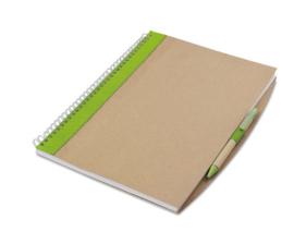 A4 Notitieboekje van gerecycled papier incl. gerecyclede pen groen