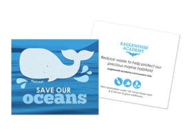 Walvis van zaadpapier of groeipapier op kaart