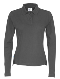 COTTOVER polo pique long sleeve lady kleur anthraciet