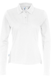 COTTOVER polo pique long sleeve lady kleur wit