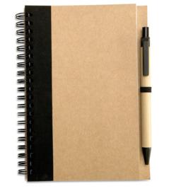 Notitieboekje van gerecycleerd karton, zwart met afbreekbare pen
