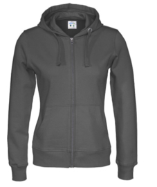 Organic Katoen Lady Cottover full zip Hooded Sweater kleur Anthraciet