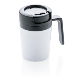 Dubbelwandige Coffee To Go Mok Met Handvat, Wit