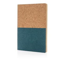 Eco kurk notitieboek, blauw