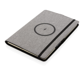 RPET notitieboekje navulbaar & draadloze oplader, grijs