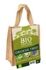Bio-lienjtes, groene thee in een jute A5 zakje met hengsel