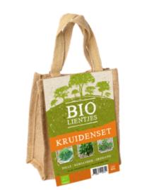 Bio-lienjtes, kruidenset in een jute A5 zakje met hengsel