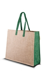 Eco Jute Bag with green accents