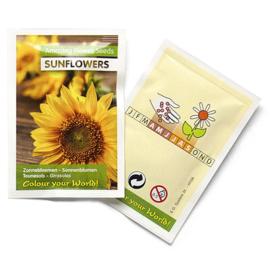 Zaadzakjes bedrukken met je eigen logo zonnebloemen 55 x 55 mm