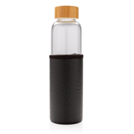 Glazen fles met PU sleeve, zwart