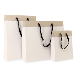 Gerecyclede Papieren Kraft Tas Deluxe, Wit/Bruin