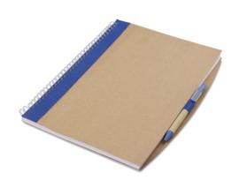 A4 Notitieboekje van gerecycleerd papier incl. gerecyclede pen blauw