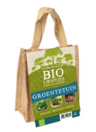 Bio-lienjtes, groentetuin in een jute A5 zakje met hengsel