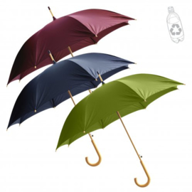 Golf umbrella van 100% gerecycled PET met houten handvat