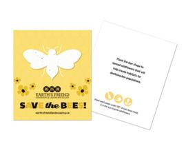 Bijen van zaadpapier of groeipapier op een kaart