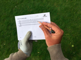 Golf bloeipotlood en scorecard