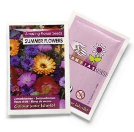 Zaadzakjes bedrukken met je eigen logo - zomerbloemen 55 x 55 mm