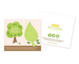 Groen blad van zaadpapier of groeipapier op kaart