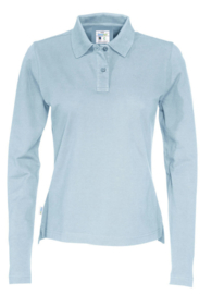 COTTOVER polo pique long sleeve lady kleur ijsblauw