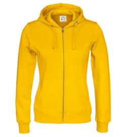 Cottover full zip hoody, geel