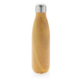 Vacuum Roestvrijstalen Fles met Houtdessin