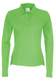 COTTOVER polo pique long sleeve lady kleur groen