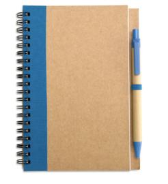 Notitieboekje van gerecycleerd karton, blauw met afbreekbare pen