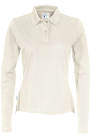 COTTOVER polo pique long sleeve lady kleur off-wite