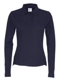 COTTOVER polo pique long sleeve lady kleur navy