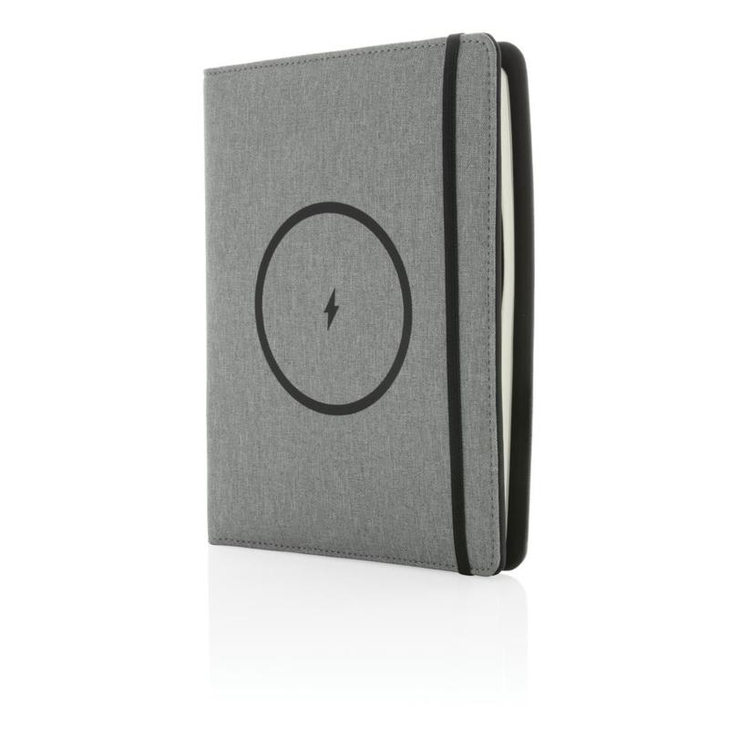 A5 notitieboek omslag met draadloze oplader, grijs