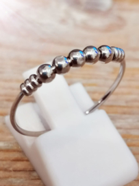 Anxiety ring, R516 PALM SHINY STEEL zilver