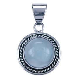 Zilver hanger Aqua chalcedoon