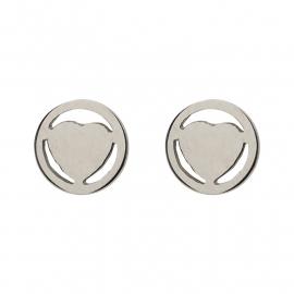iXXXi JEWELRY oorsteker met hart in zilver Diameter 7mm