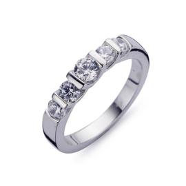 Silver Ring 5x Round 100 Facet CZ White rhodium maat 20
