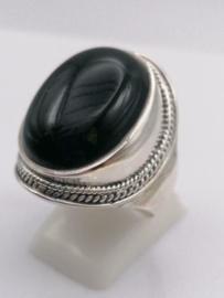 ring echt zilver met zwarte onyx. Maat 20