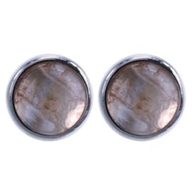 Zilver oorsteker Citrien : Ø 6mm