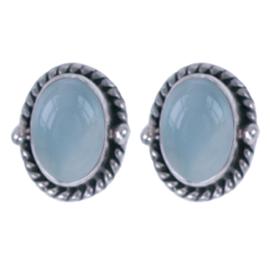 Zilver oorsteker Aqua chalce. : 7 x 8mm