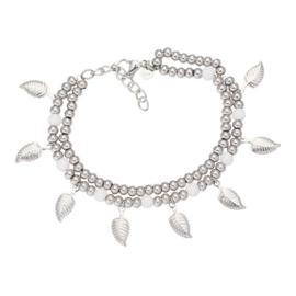Dazzling leaves enkelbandje zilver