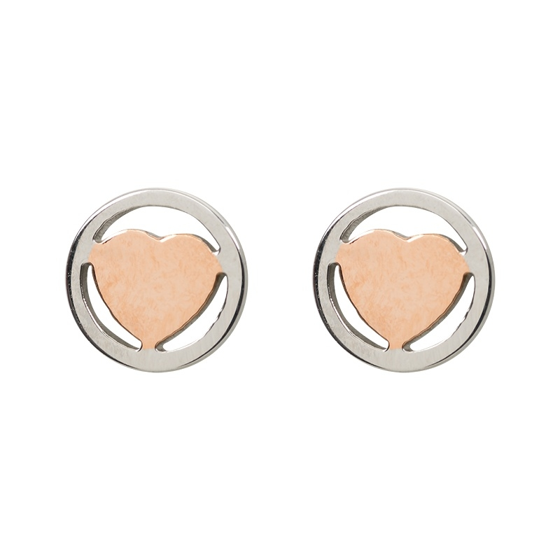 iXXXi JEWELRY oorsteker met hart in rosé gold Diameter 7mm
