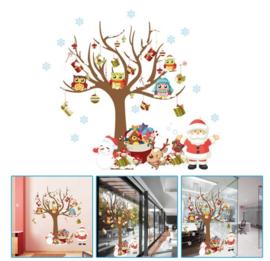 Grote Kerstman Uiltjes Sneeuwboom Sticker
