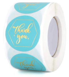 Labels - Thank you - Golden Blue (500 stuks)