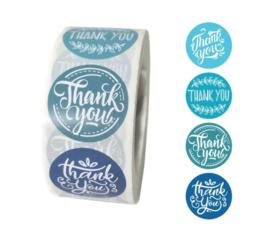 Labels - Thank you - Blues (500 stuks)