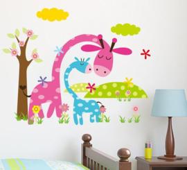 Mama & Kind Giraf Muursticker