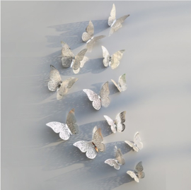 3D Zilveren Vlinder Muurstickers