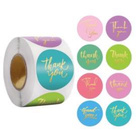 Labels - Thank you - Kleurrijk Goud (500 stuks)