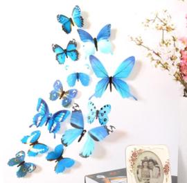 3D Blauwe Muurvlinders