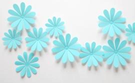 3D Blauwe Muurbloemen