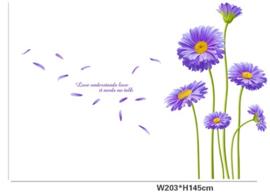 Paarse Chrysanten Bloemen Muur Sticker