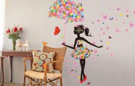 Bloemen Meisje met Paraplu en Vlinders Grote Muursticker