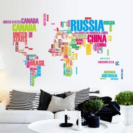 Kleurrijke Grote Wereldkaart Muursticker